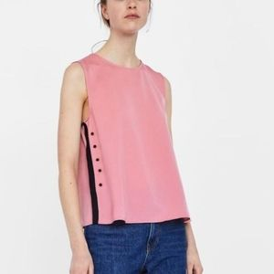 2/$45 Pink contrasting stripes sleeveles blouse